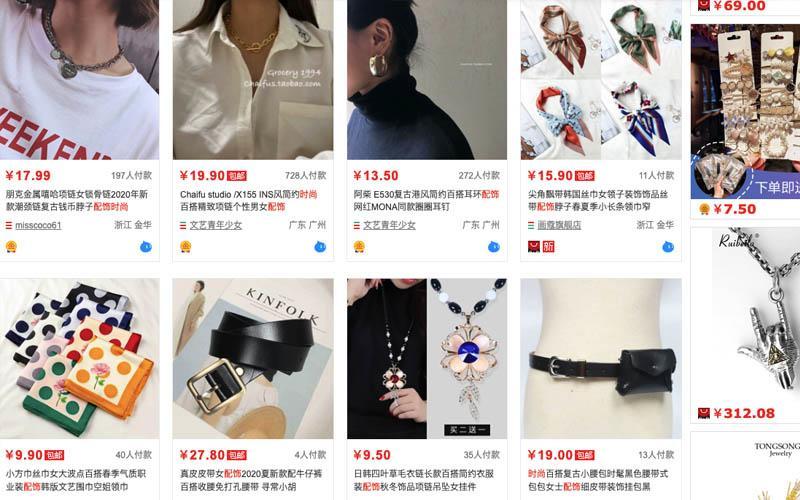 Nguồn order phụ kiện thời trang trên Taobao